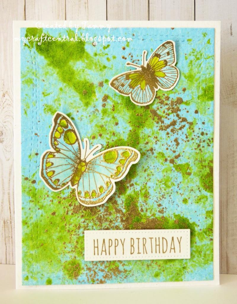 13 Aug-Hero Arts gold butterflies